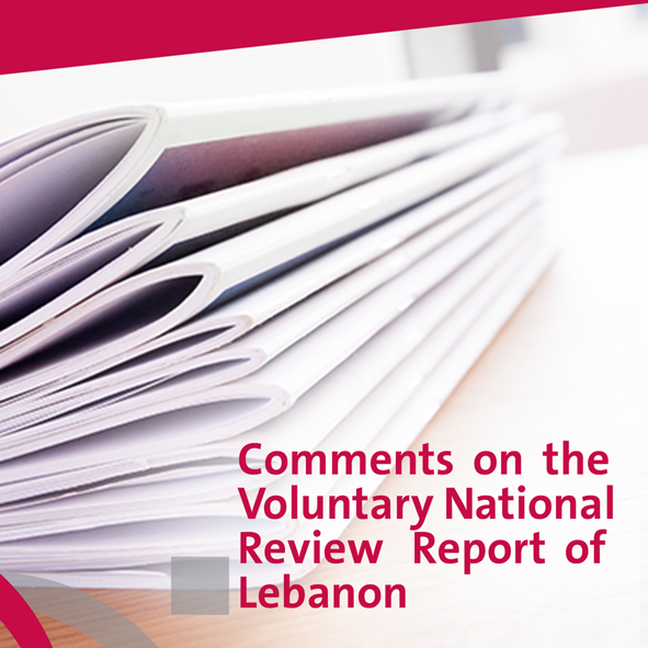 Comments on the Voluntary National Review Report of Lebanon At the High Level Political Forum 2018